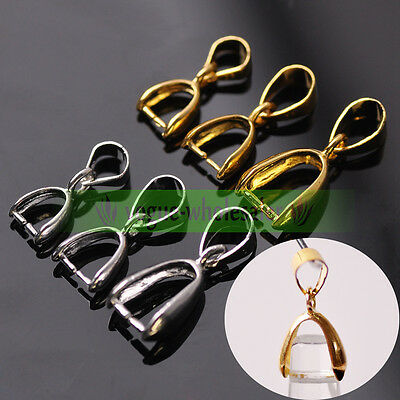 10/50pcs Silver/Gold Pendant Holder Clamp Pinch Clip Connector Bail Clasp