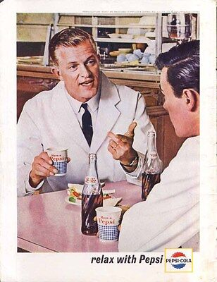 """Pepsi doctors in cafeteria """"relax with Pepsi"""" ad 1963"""