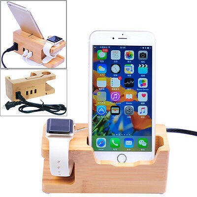 Apple Watch/ iPhone 5 6S 7 Bamboo Charging Dock Station Stand USB Ports Charger