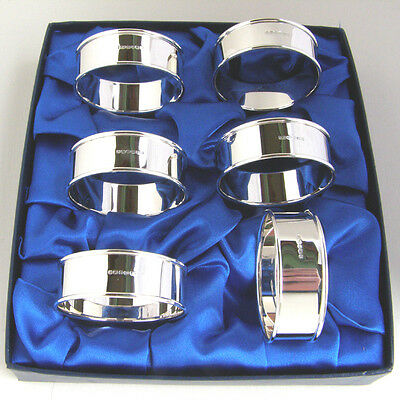 Sterling Silver Set Of 6 Napkin Rings.  Boxed Set Of 6 Silver Serviette Rings