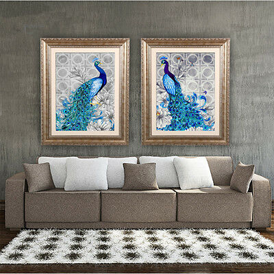 5D Diamonds Plated Embroidery Peacock Painting Home Bedroom Decoration AU
