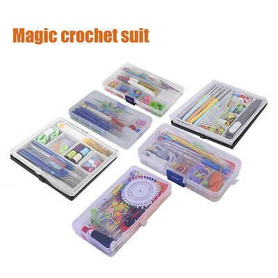 Knitting Tools Kit Crochet Hooks Needles Stitches Scissors Pins Set Home Use XAU