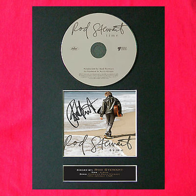 ROD STEWART Time Album Signed CD COVER MOUNTED A4 Autograph Print 30