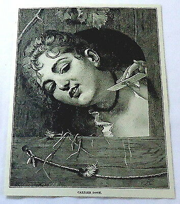 1886 magazine engraving ~ Girl with note for CARRIER DOVE