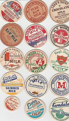 Lot Of 15 Different Milk Bottle Caps. All Named Dairies. #7