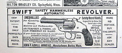 1890 J LOVELL ARMS 38 cal SWIFT Hammerless Automatic Revolver Magazine Ad 8843