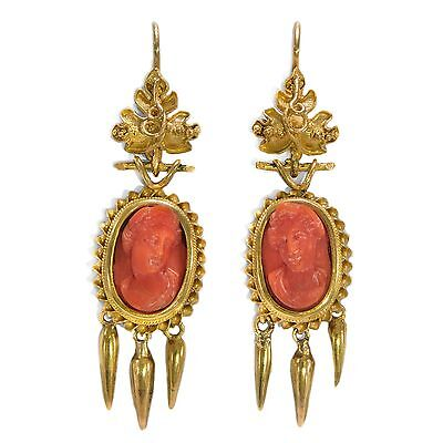 Antike Ohrringe in Gold mit Korallen Gemmen, um 1875 / Kamee Coral Earrings