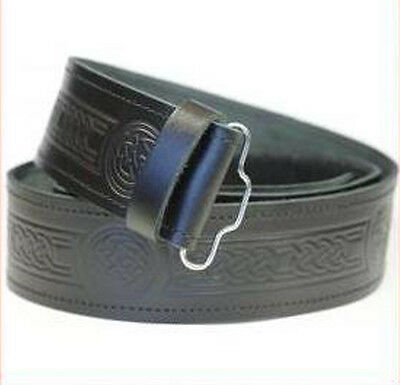 Embossed Scottish Black LEATHER KILT BELT Fits Sizes 28-46 Grained Thick Sporran