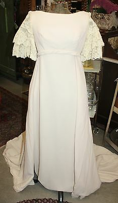 Classic Vintage1960s Wedding Dress & Train Empire Waist Lace Sleeves Lovely!