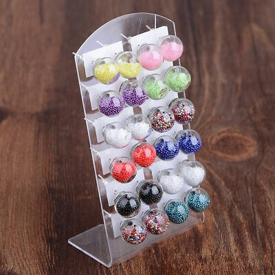12 Pairs Fashion Womens Candy Color Double Glass Ball Ear Stud Earrings Jewelry