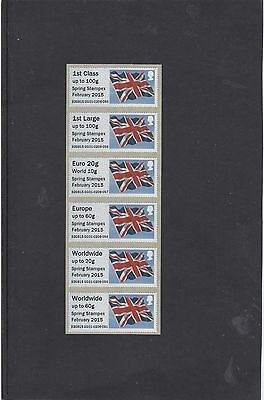 GB 2015  Post & Go Frama ATM Union Flag STAMPEX overprint Collect Strip m/c GG1