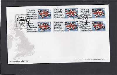 GB 2015  Post & Go Frama Union Flag STAMPEX overprint 1st Collector Strip B1 FDC