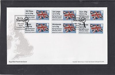 GB 2015  Post & Go Frama Union Flag STAMPEX overprint 1st Col Strip m/c GG1 FDC