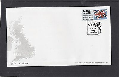 GB 2015  Post &Go Frama Union Flag STAMPEX overprnt 1st single stamp reel B1 FDC