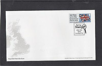 GB 2015  Post & Go Frama Union Flag STAMPEX overprint 1st class stamp A4 FDC