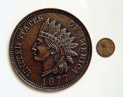 Vintage Original Oversized 3 Inch Indian Head Penny 1877 One Cent Novelty Coin