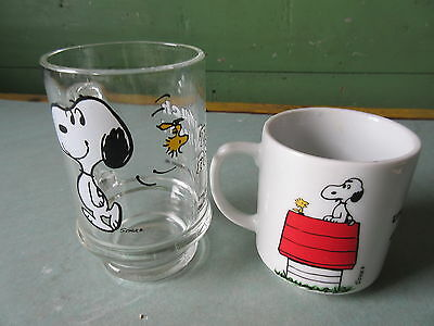 2 Old Vintage Snoopy Peanuts Ceramic & Glass Coffee Mugs