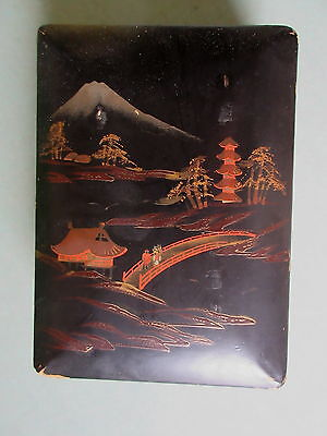 Antique Japanese Laquerware Box Mount Fuji Scene