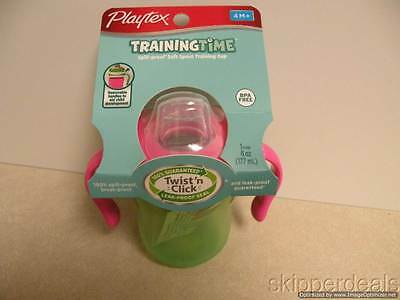 Playtex Training Time Soft Spout Training Cup Twist 'n Click Green & Pink New