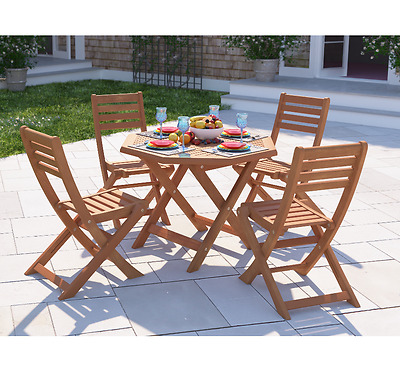 Wooden Garden Furniture Folding Patio Table Chairs Outdoor 4 Seater Dining Set