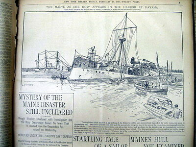 Feb 1898 volume newspapers SPANISH AMERICAN WAR Battleship USS MAINE BLOWS UP