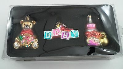 MIB 3 pc 2006 Target Stores Glass Baby Ornaments Teddy Bear Blocks Bottle Duck +