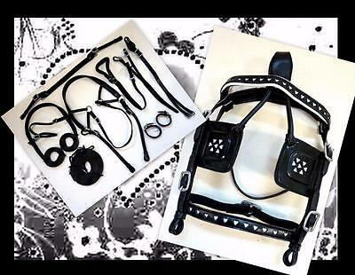 Back In! HEARTS Leather BL WHITE Mini Sh Pony Driving Training Cart Show HARNESS