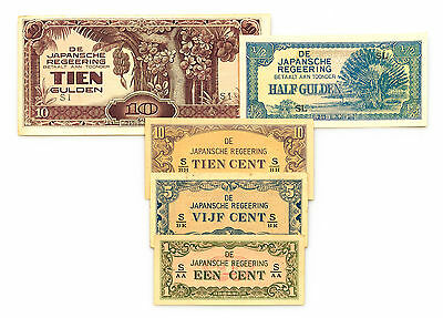 Set of 5 Netherlands Indies JIM WW2 1940's circ.-Unc.