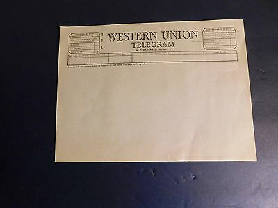 Vintage Western Union Blank Telegram Form dated 1955 - New Old Stock - FREE SHIP