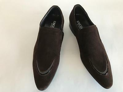 Men's Encore by Fiesso Brown Suede Slip On Pointed Dress Shoes FI 3066
