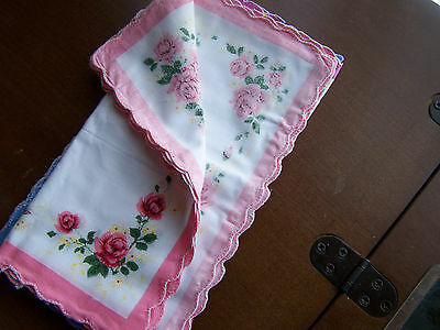 Vintage style ladies handkerchiefs  1 doz. -Roses corners, scalloped edge 11""