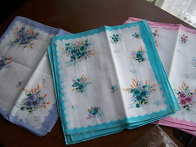 Vintage style ladies handkerchiefs  1 doz., floral bouquet; straight edge 10""