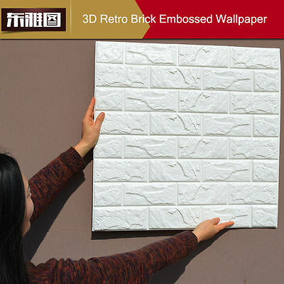 40Pcs 3D effect Flexible Stone Brick Wall Textured Viny Wallpaper Self-adhesive