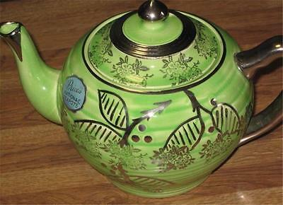 Price's National Teapot #36 Made In Harrow England Green Floral Design
