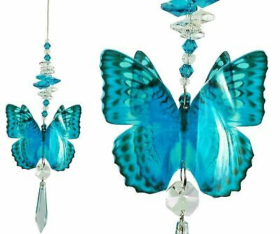 blue BUTTERFLY crystal suncatcher, window hanging rainbow prism crystals gift