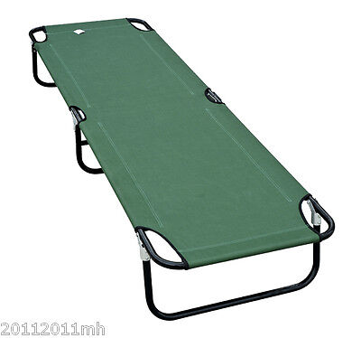"""Outsunny 75""""  Deluxe Folding Military-Style Camping Cot Portable Bed Green"""