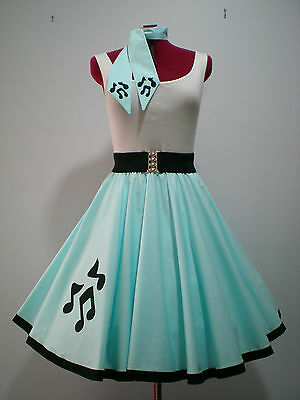 """ROCK N ROLL/ROCKABILLY """"Music Notes"""" SKIRT-SCARF XS-S Pastel Blue."""