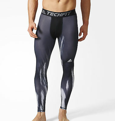 adidas Tech-Fit Base GFX Mens Long Compression Tights - Black