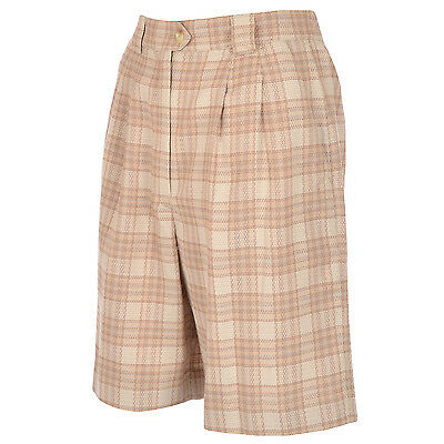Tail Womens Knee Length Woven Checked Pleated Golf Shorts - Camel - 6UK