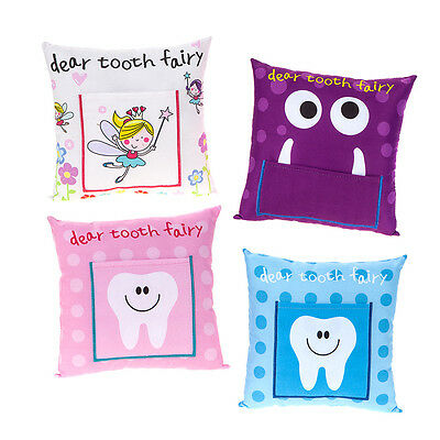 Kids Tooth Fairy Money Pillow Cushion Wish Note Letter Boys Girls Soft Pocket