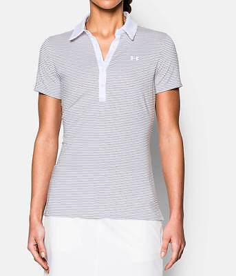 Under Armour Ladies Stretch Golf Polo Shirt Grey White Stripe SM, L, XL 10 - 18