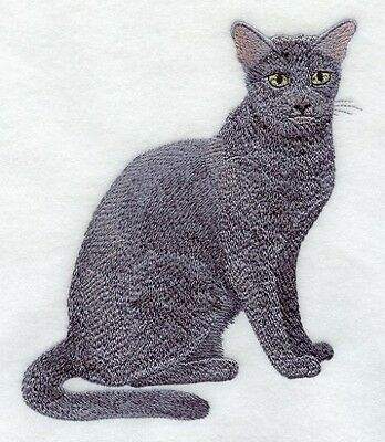 Embroidered Long-Sleeved T-Shirt - Russian Blue Cat C7907