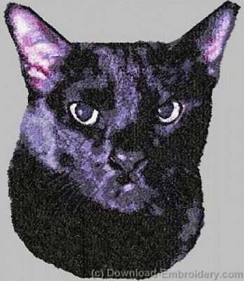 Embroidered Long-Sleeved T-Shirt - Bombay Black Cat DLE2649