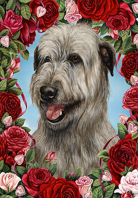 Garden Indoor/Outdoor Roses Flag - Grey Irish Wolfhound 193291