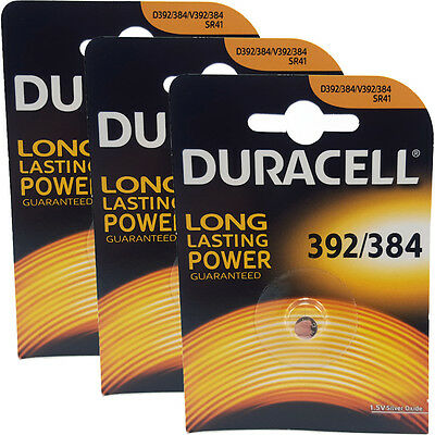 3 x Duracell 392 384 AG3 LR41 SR41W Watch Batteries
