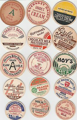 Lot Of 15 Different Milk Bottle Caps. All Named Dairies. #39