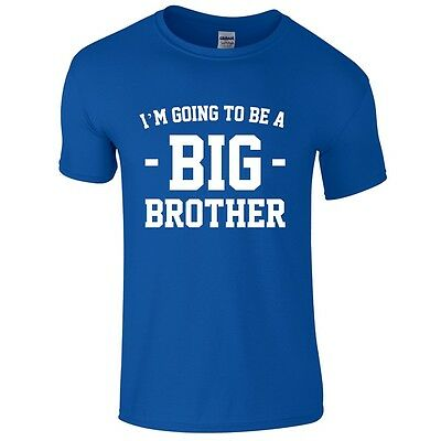 I'M GOING TO BE A BIG BROTHER Boys T-Shirt 1-14 Years Blue Funny Printed Joke