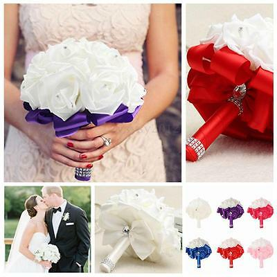 Ramo de Novia Flor Boda Artificial Rosa Wedding Bouquet Bridesmaid Decoración UK
