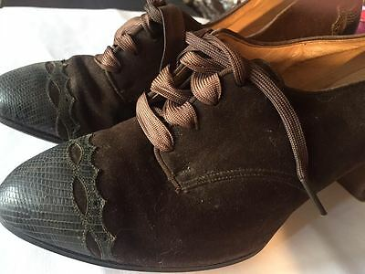 Vintage 20's-30's Brown Suede Leather Snake Lace Up Heels Small Swope St. Louis