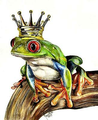 The Real Prince by Manuela Lai Canvas Giclee Print Tree Frog wearing Crown